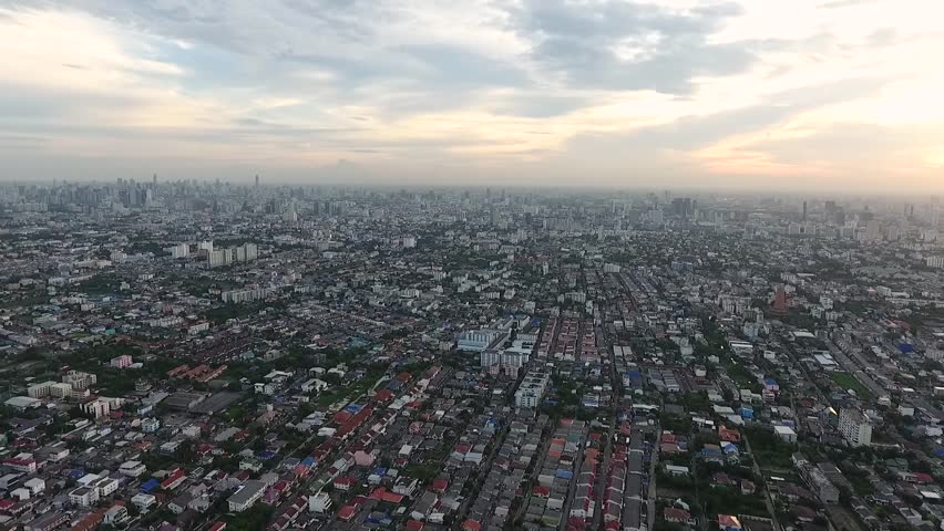 A suburb of Bangkok from drones. | Shutterstock HD Video #19684927