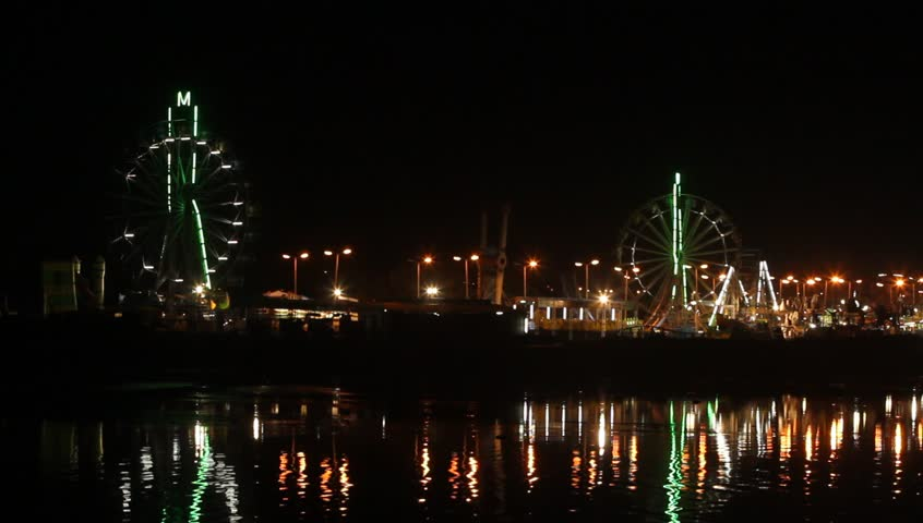 Amusement park at night. - HD stock video clip