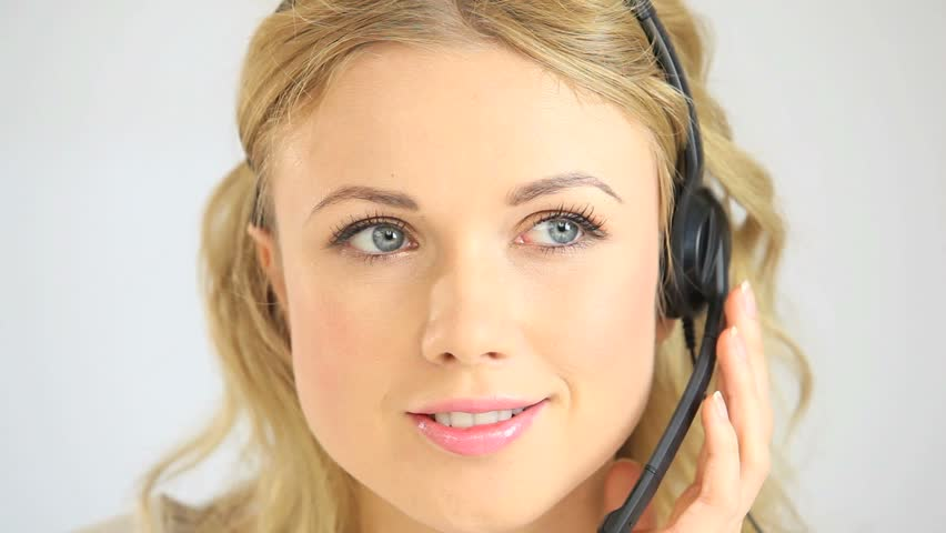 Portrait of beautiful customer service assistant - HD stock footage clip