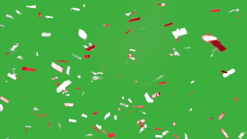 Red and White colored Confetti falling slow an beautiful in front of a green screen in 4K resolution | Shutterstock HD Video #19764856