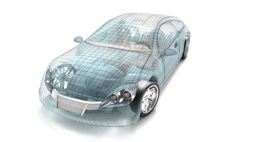 Car design, wire model. My own design.  - HD stock footage clip
