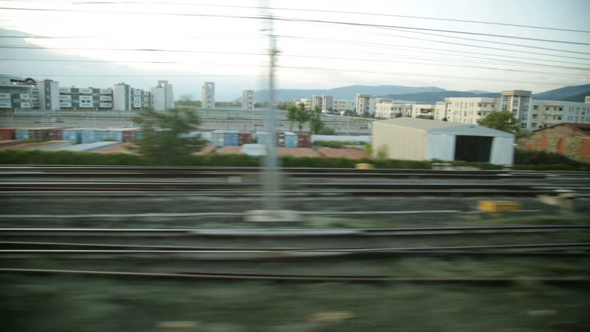 View of Railways out from a window of a moving train.   Shutterstock HD Video #19869634