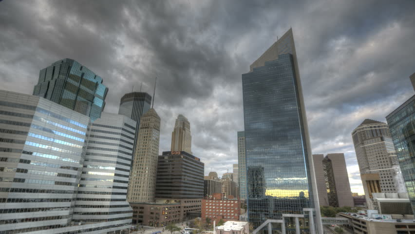 MINNEAPOLIS, USA October 19, 2011: HDR Timelapse of Minneapolis downtown and