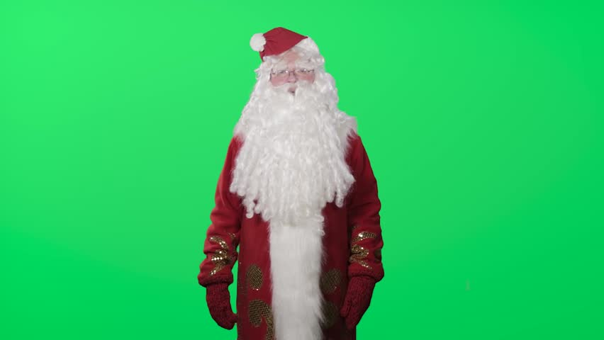 Ded Moroz (Santa Claus, Pere Noel) congratulates you with New year and Christmas. The hat falls from the head. Green screen, chromakey | Shutterstock HD Video #19899946
