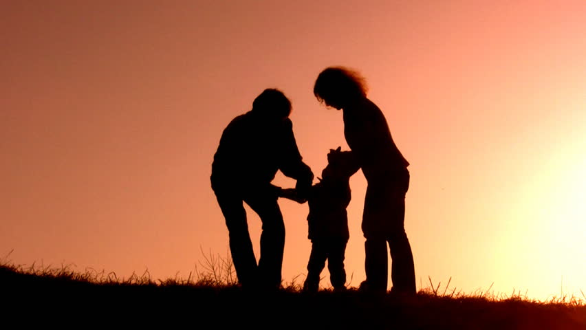 family sunset play - HD stock footage clip