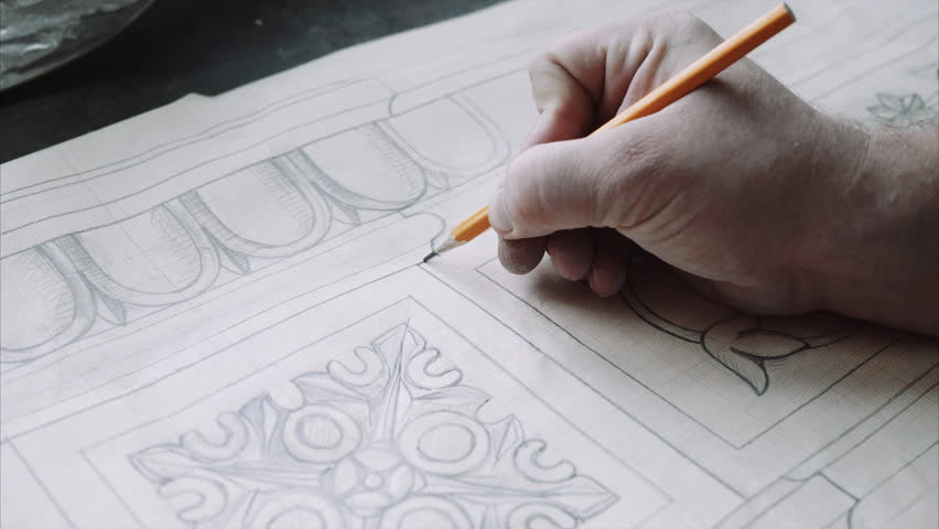 Engineer designer draw architect blueprint with pencil , close up | Shutterstock HD Video #20041588