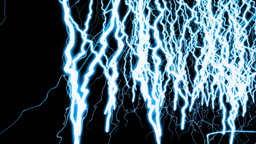 Lightnings. Vertical abstract composition. Black background.