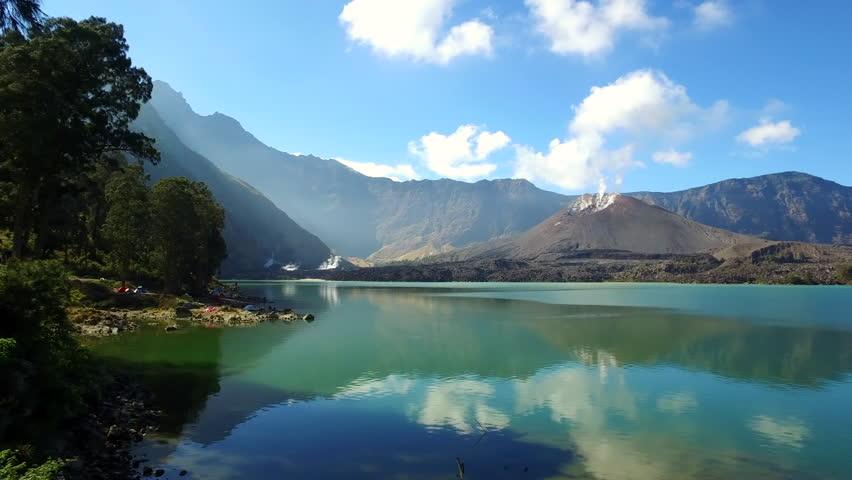 Pan view segara anak lake and barujari mount, lombok indonesia   Shutterstock HD Video #20107360
