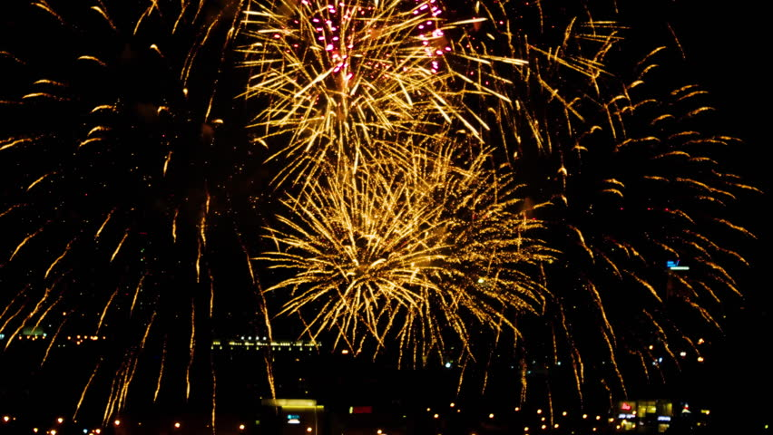 Colorful fireworks at holiday night   Shutterstock HD Video #20113309