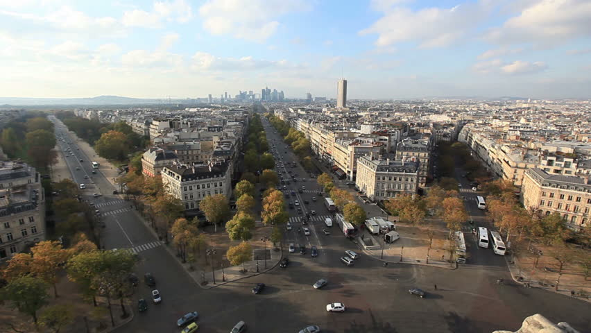 View from Triumphal Arch, Paris, France | Shutterstock HD Video #2019043