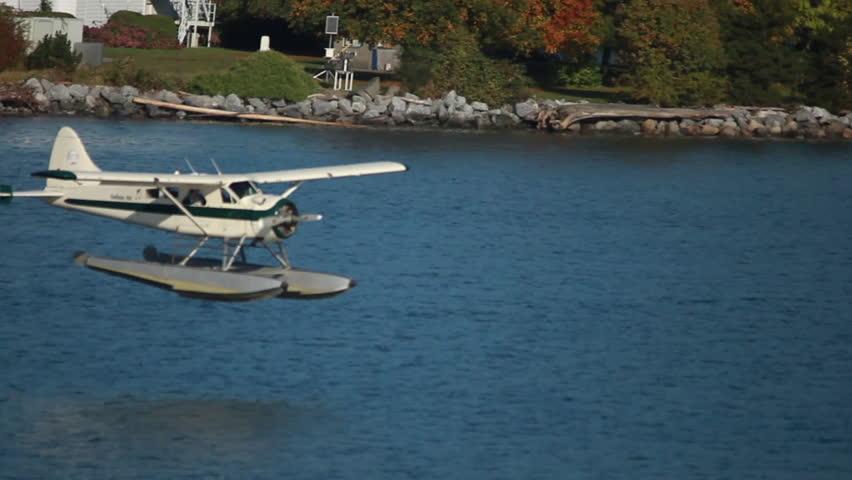 Plane Landing on Water - HD stock footage clip