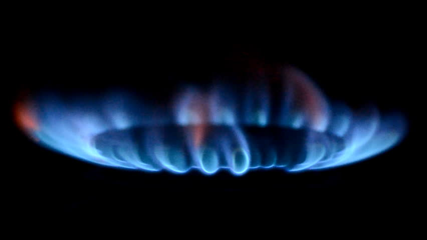 Gas burners in the kitchen oven - HD stock video clip