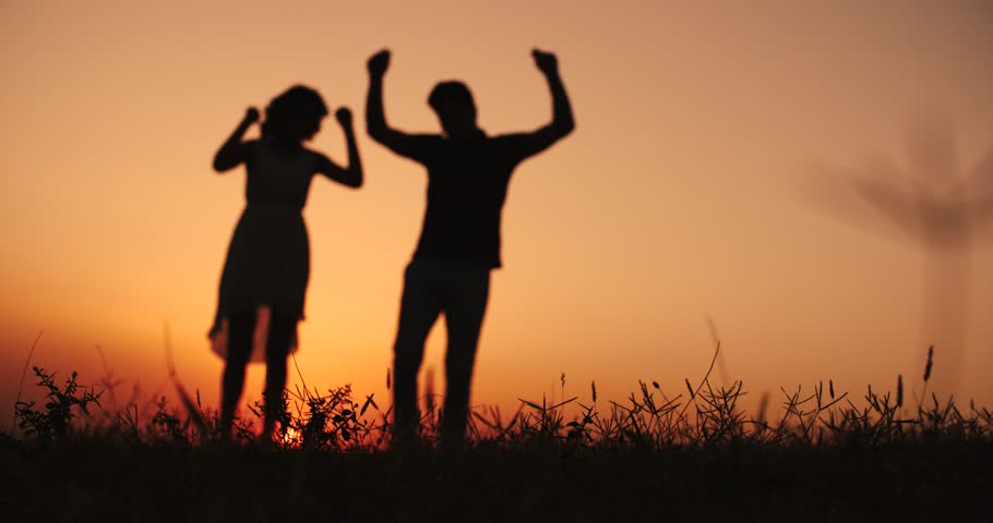 Young happy couple having fun dancing on the sunset | Shutterstock HD Video #20245195