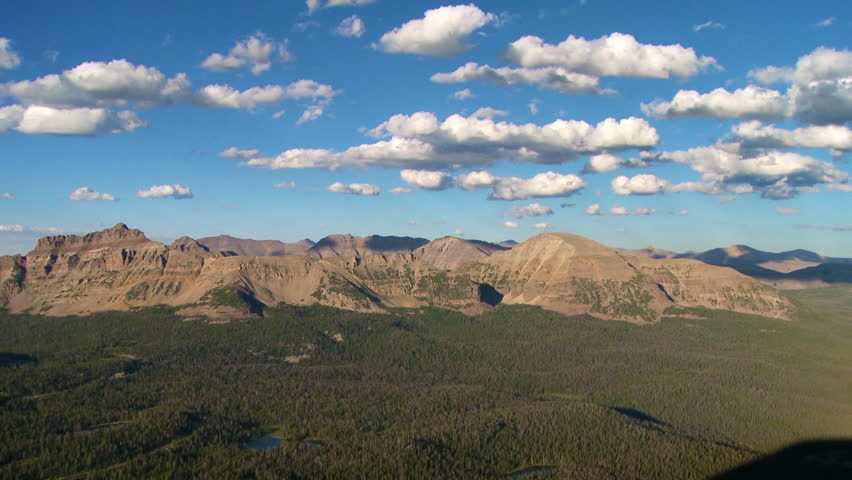 Mountains and fast clouds in Uinta Mountain Range