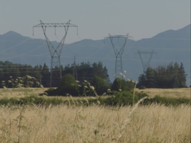 Transmission line through the field   Shutterstock HD Video #2027800