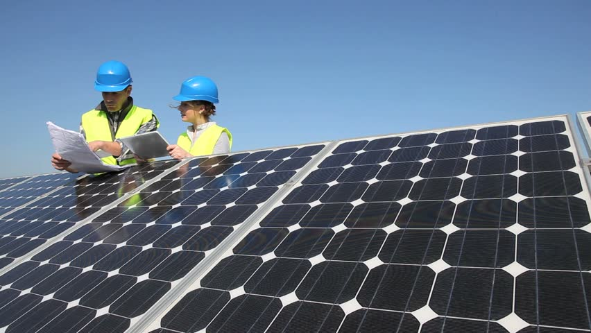 Engineers Working On Solar Panels Plant Stock Footage