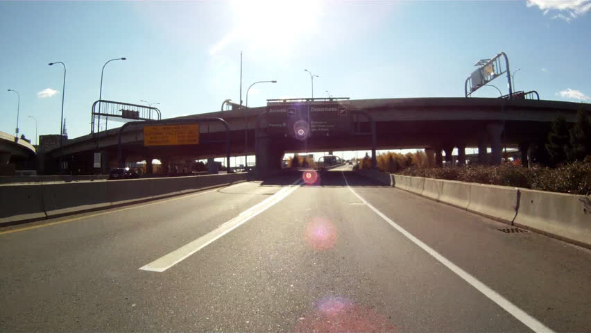 Driving under an overpass in Boston, MA