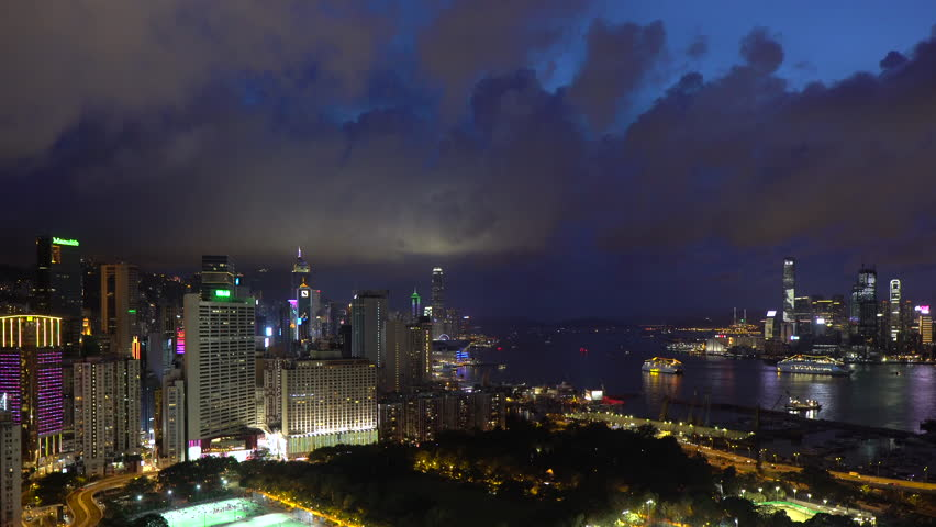 Elevated view, Victoria park and Central district of Hong Kong Island, Hong Kong, China (Jul 2016, Hong Kong) | Shutterstock HD Video #20465506