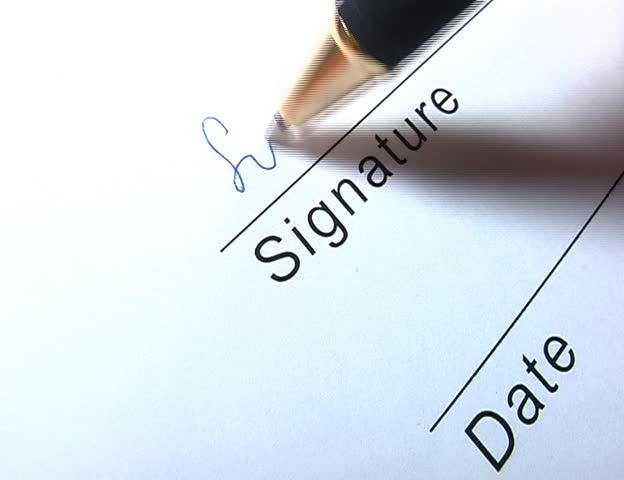 Closeup of signature writing - SD stock video clip