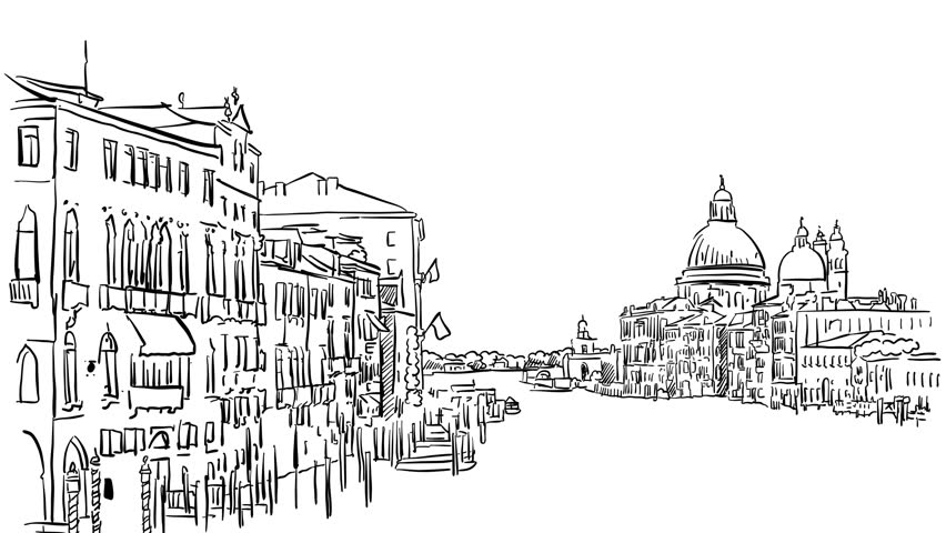 Line Drawing Venice : Moscow kremlin outline time lapse sketch on white