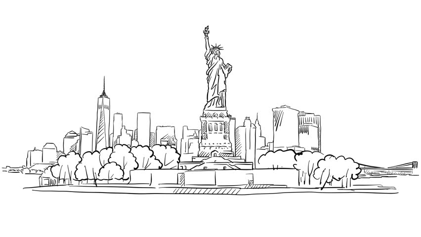 Line Drawing New York City Skyline : Liberty statue and new york skyline time lapse animation