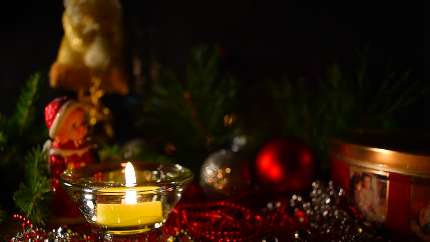 One Candle Lights Up On An Advent Wreath Stock Footage