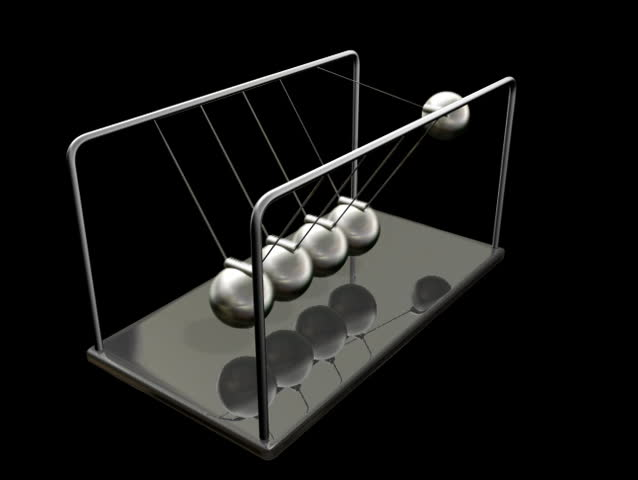 Newton's Cradle (NTSC Loop). A simple Isaac Newton's Cradle toy with the view rotating around it over several cycles. It demonstrates the principle of elastic shock.