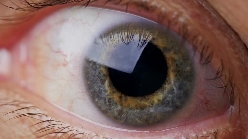 Extreme close up human eye iris in 4k uhd video human eye iris