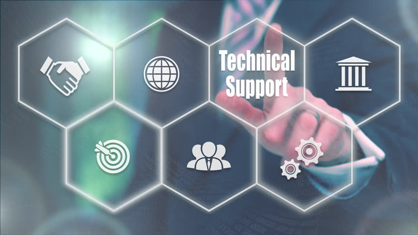 Businessman pressing a Business Technical Support concept | Shutterstock HD Video #20992735