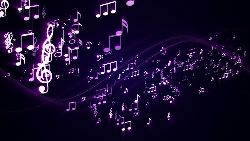Animated Background With Musical Notes And Speaker Stock ...