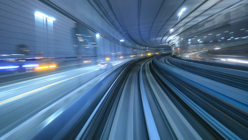 4K Time lapse of automatic train moving to tunnel, Tokyo, Japan  | Shutterstock HD Video #21030778