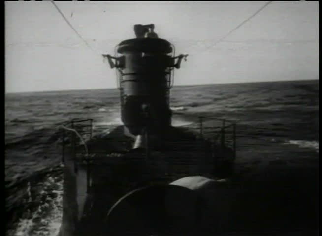 View from deck of submarine in an open ocean - SD stock video clip