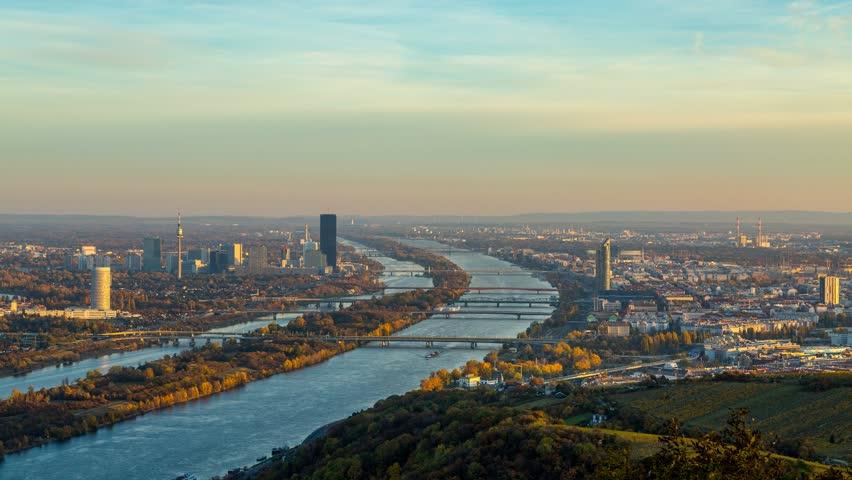 Vienna Skyline, Day to Night timelapse of Vienna Austria in 4K.   Shutterstock HD Video #21087892