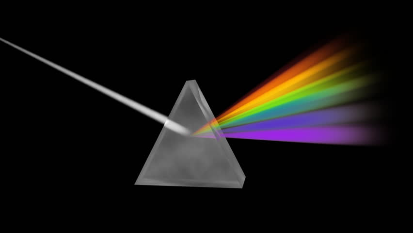 Prism Separating Light Spectrum (HD). A crystal prism bends and separates white light into the seven colors of the rainbow. Slight camera movement and alpha channel included at the end of track.