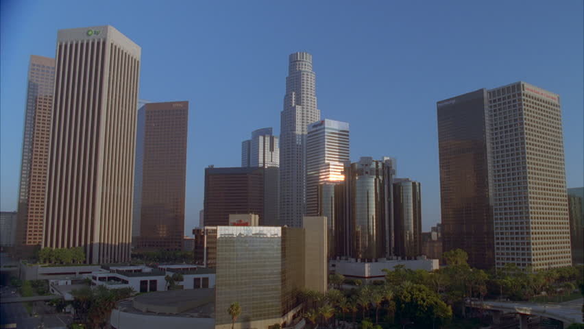 Day Close downtown Los Angeles skyline, sun buildings | Shutterstock HD Video #21113794