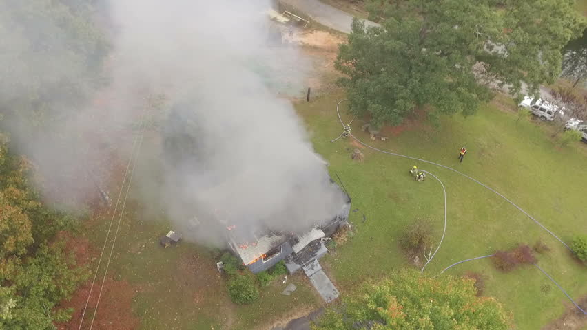 Aerial view of working structure fire | Shutterstock HD Video #21115531