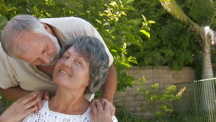 Seniors hugging - HD stock footage clip