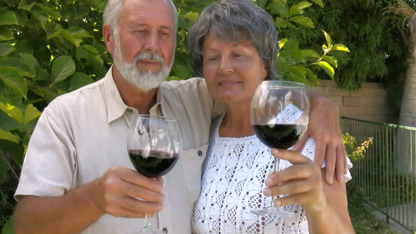 Older couple on a wine tasting - HD stock video clip