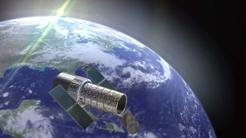 Hubble Space Telescope Animation (HD). Elements of this image furnished by NASA. Hubble telescope on a space environment with earth as background with camera motion.