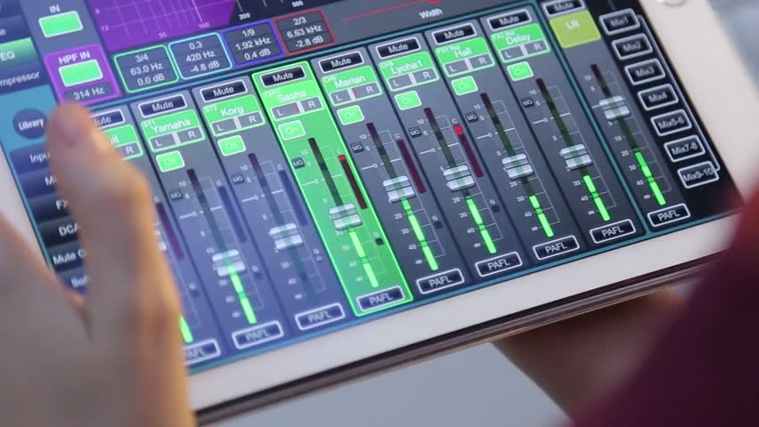 audio control panel with green led line in radio broadcasting studio stock footage video 5584607. Black Bedroom Furniture Sets. Home Design Ideas