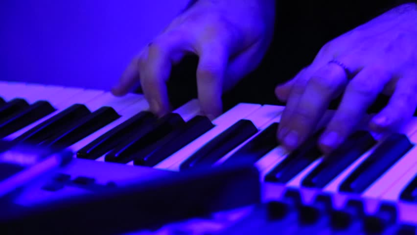 disco piano, play the piano, hand guy playing the piano - HD stock footage clip