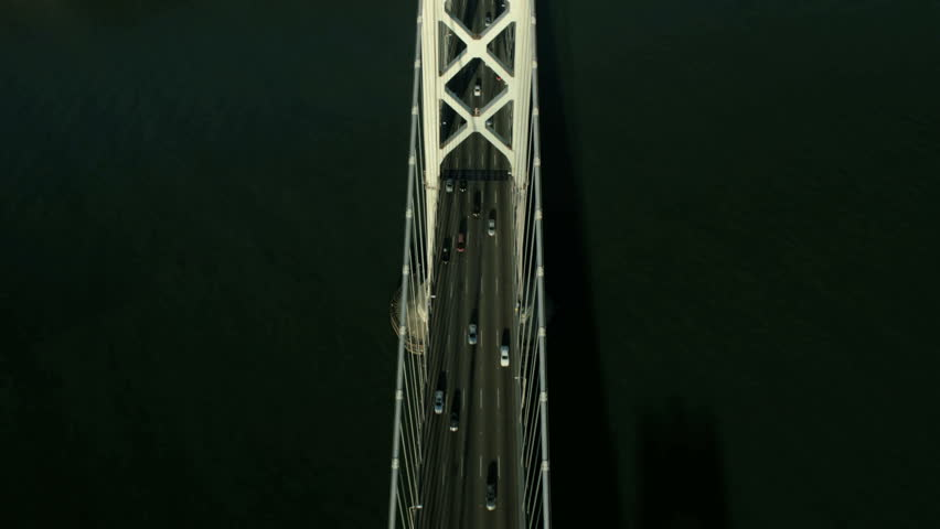 Aerial vertical view of traffic on the Oakland Bay bridge, San Francisco, California, North America, USA - HD stock video clip