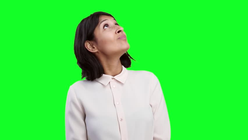 Young woman thinking on green screen | Shutterstock HD Video #21308068