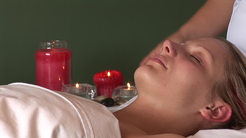 woman having a Facial Massage - HD stock video clip
