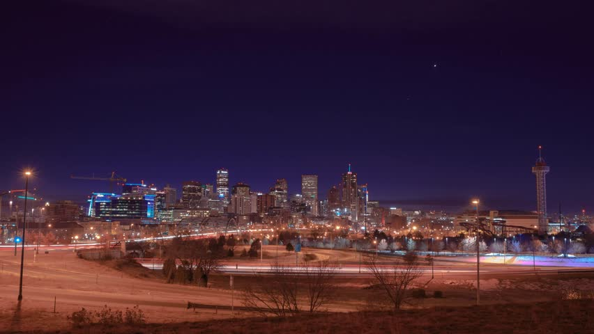 Denver downtown night to day Sunrise timelapse with traffic