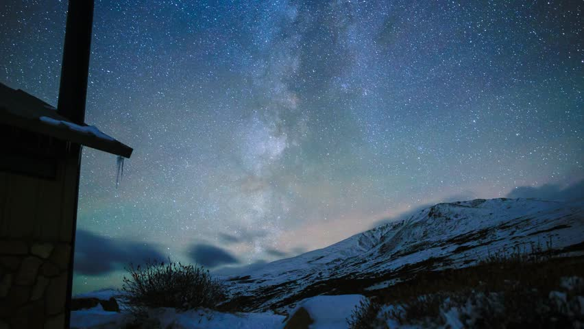 Stunning Milky Way timelapse with airglow, clouds, ice, and snow