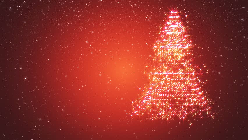 Red snowy background with a rotating Christmas tree of shiny particles. Festive background with animated text Merry Christmas and Christmas tree. Winter background with falling snowflakes. | Shutterstock HD Video #21460357