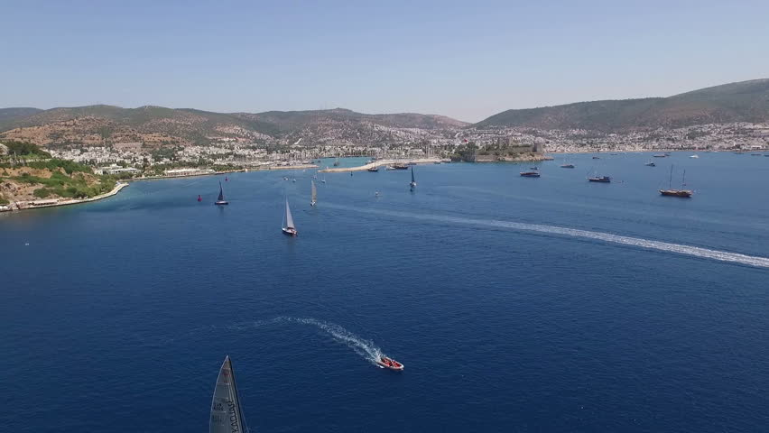 Amazing view to Yacht sailing in open sea at sunny day. Drone view | Shutterstock HD Video #21485377