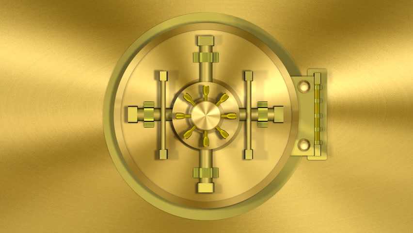 Bank Vault Door Gold Transition (HD). 1080p formated transition of a bank vault opening and camera following inside NOTE: You can reverse the clip to get the opposite effect of closing. Audio included