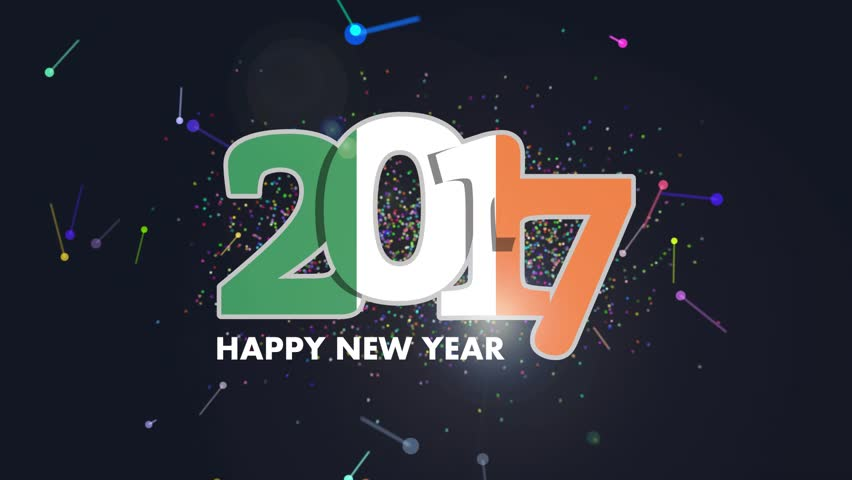 Year 2017 with Ireland Flag pattern. Animation of lettering Happy New Year Design on white background. HD Video | Shutterstock HD Video #21726676